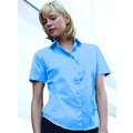 65014 Ladies Short Sleeve Mid-Blue Poplin Shirt