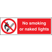 No Smoking Or Naked Lights (Rigid Plastic,600 X 200mm)