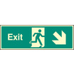 Exit Down & Right (Self Adhesive Vinyl,300 X 100mm) (22014G)