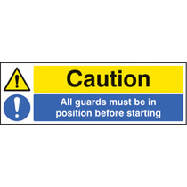 All Guards Must/in Position (Rigid Plastic,300 X 100mm)