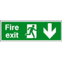 Fire Exit - Down Safety Sign Self Adhesive Vinyl