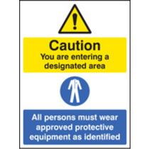 Designated Area, All Persons Must Wear (Rigid Plastic,400 X 300mm)