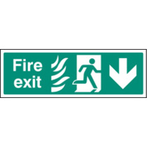 Fire Exit - Arrow Down Htm (Rigid Plastic,600 X 200mm)
