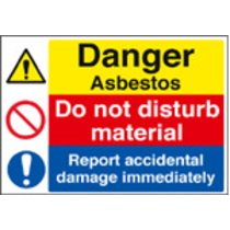 Danger Asbestos/ Report Accidental Damag (Self Adhesive Vinyl,400 X 300mm)