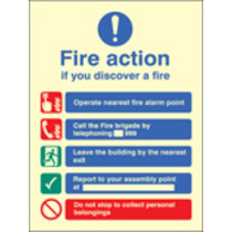Fire Action Manual Dial Without Lift (photo. Self Adhesive Vinyl,200 X 150mm)