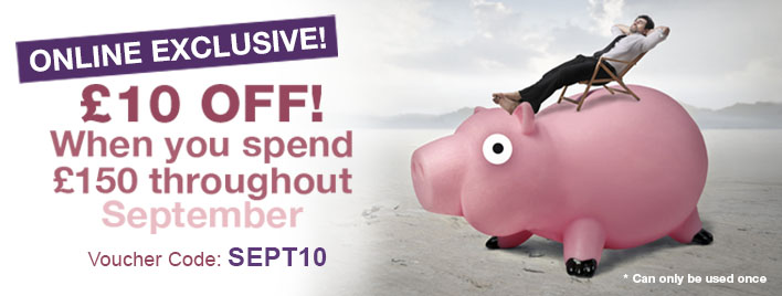 £10 Off when you spend £150 throughout September!