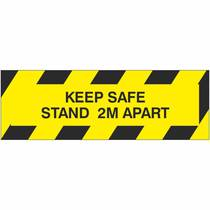VC.22E Keep Safe Stand 2M Apart - 300MM x 100MM (Self Adhesive) - Pack Of 5
