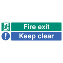 Fire Exit - Keep Clear (Self Adhesive Vinyl,450 X 150mm) (22062L)
