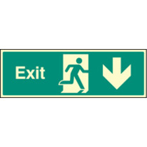 Exit - Straight Down (Rigid Plastic,600 X 200mm)
