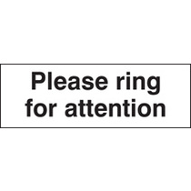 Please Ring For Attention (Rigid Plastic,450 X 150mm)