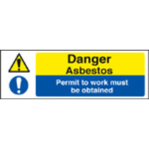 Danger Asbestos/permit To Work Must Be (Self Adhesive Vinyl,300 X 100mm)