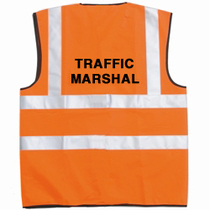 Pre-Printed TRAFFIC MARSHAL Orange Hi-Vis Waistcoat