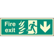 Fire Exit Arrow Down Htm (Self Adhesive Vinyl,300 X 100mm) (22092G)