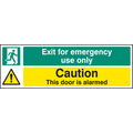 Exit For Emergency/door Is Alarmed (Self Adhesive Vinyl,300 X 100mm) (22065G)
