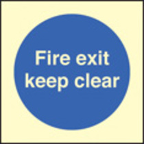 Fire Exit Keep Clear (photo. Self Adhesive Vinyl,80 X 80mm)