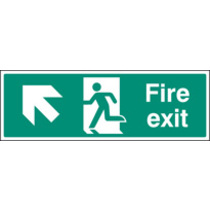 Fire Exit - Up And Left (Rigid Plastic,300 X 100mm)