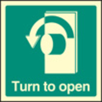 Turn To Open - Left (Self Adhesive Vinyl,150 X 150mm) (22034C)