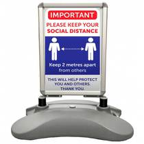 VCC.459 Water Base Pavement Sign - Please Keep Your Distance - 420MM x 594MM