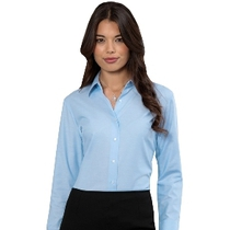 932F Ladies Long Sleeve Oxford Blue Blouse