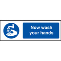 Now Wash Your Hands (Self Adhesive Vinyl,600 X 200mm)