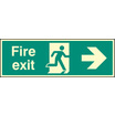 Fire Exit - Right (Rigid Plastic,300 X 100mm)