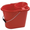 Red Plastic 15L Mop Bucket c/w Strainer