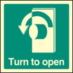 Turn To Open - Left (Self Adhesive Vinyl,100 X 100mm) (22034U)