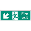 Fire Exit - Down And Left (Rigid Plastic,450 X 150mm)