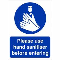 HYB.453W Please Use Hand Sanitiser Before Entering - 150MM x 200MM