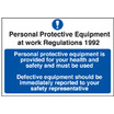 PPE Provided Safety Sign Self Adhesive Vinyl