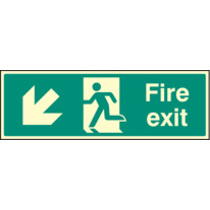 Fire Exit - Down And Left (Rigid Plastic,600 X 200mm)