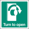 Turn To Open - Right (Self Adhesive Vinyl,150 X 150mm) (22037C)