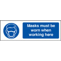 Masks Must Be Worn When Working Here (Self Adhesive Vinyl,200 X 150mm)
