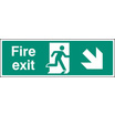 Fire Exit - Down And Right (Rigid Plastic,450 X 150mm)