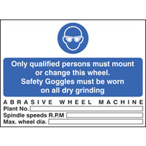 Abrasive Wheels - Goggles To Be Worn (Rigid Plastic,200 X 150mm)