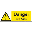 Danger 415 Volts (Rigid Plastic,200 X 150mm)