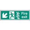 Fire Exit Arrow Down Left Htm (Self Adhesive Vinyl,300 X 100mm) (22086G)