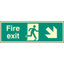 Fire Exit - Down And Right (Rigid Plastic,600 X 200mm)