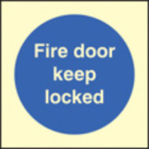 Fire Door Keep Locked (photo. Rigid Plastic,80 X 80mm)