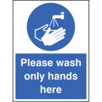 Wash Only Hands (Self Adhesive Vinyl,200 X 150mm)