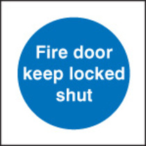 Fire Door Keep Locked Shut (Self Adhesive Vinyl,80 X 80mm) (21621B)