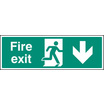 Fire Exit Down (polycarbonate,300 X 100mm) (72008G)