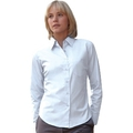65012 Ladies Long Sleeve White Poplin Shirt