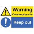Construction Site Keep Out (Rigid Plastic,600 X 400mm)